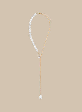 Pearl Detail Y Necklace, Off White,  necklace, Y, pearls, golden, chain, pendant, stone, spring summer 2020