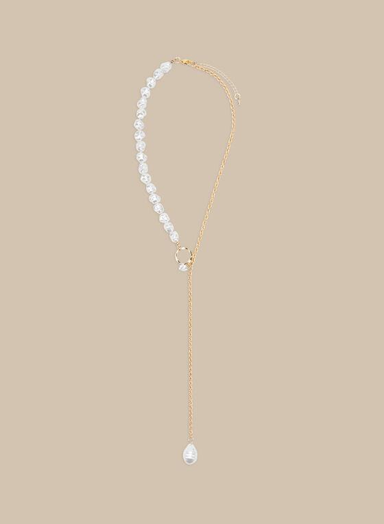 Collier en Y à détails perles, Blanc cassé