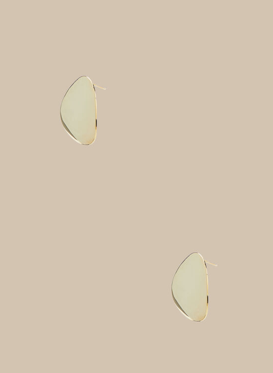 Rounded Triangle Button Earrings, Gold