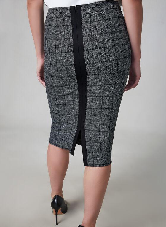Plaid Print Pencil Skirt, Grey