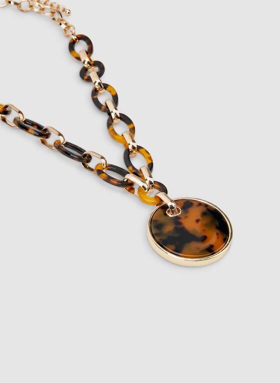 Tort Metal Combo Necklace, Brown