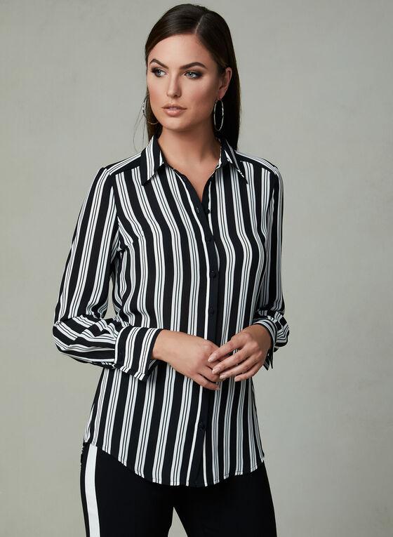 Stripe Print Crepe Blouse, Black, hi-res