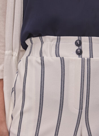 Striped Pull On Shorts, White,  spring summer 2021, made in Canada, shorts, bottoms, pull-on, elastic waist, straight leg, pockets, button detail, vertical stripe, striped, stripe print