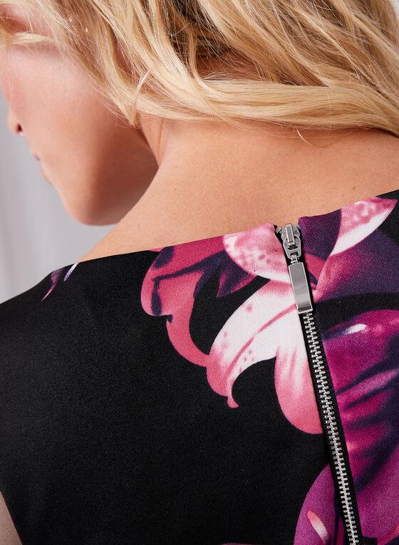 Robe fourreau au motif floral , Noir, hi-res
