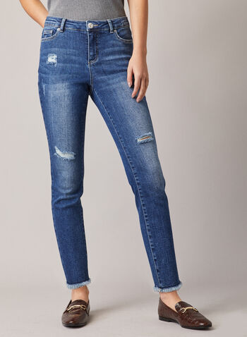 Distressed Slim Leg Jeans, Blue,  jeans, slim leg, distressed, faded, fringe, pockets, stretchy, denim, ankle length, spring summer 2020