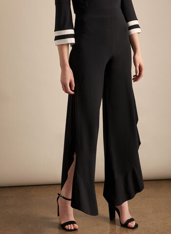 Joseph Ribkoff - Side Slit Wide-Leg Pants, Black,  canada, Joseph Ribkoff, pants, wide-leg, comfortable, pull-on, spring 2020, summer 2020