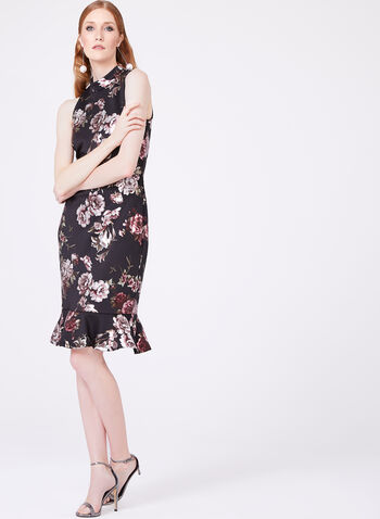 Jax - Metallic Floral Print Scuba Dress, Multi, hi-res