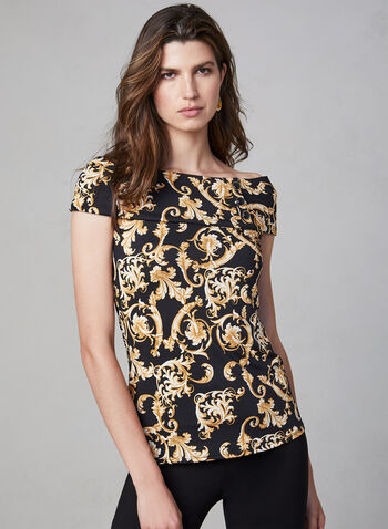Scroll Print Sleeveless Blouse, Black,  baroque style, marilyn collar, sailor collar, jackie collar, sleeveless blouse