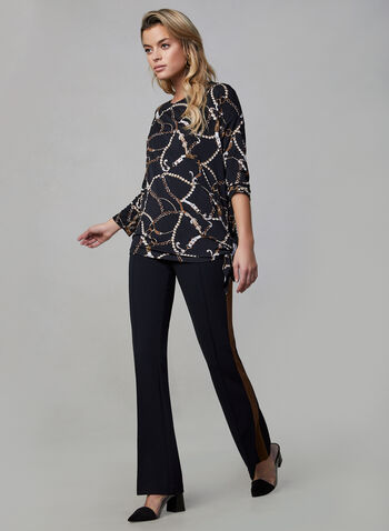 Printed Asymmetric Top, Black, hi-res,  fall winter 2019, 3/4 sleeves, stretchy, crepe