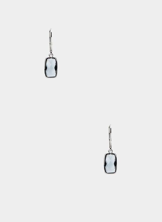 Boucles d'oreilles à pierres rectangulaires, Gris