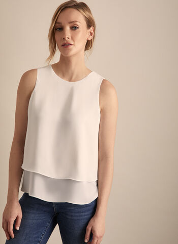Sleeveless Crepe Blouse, Off White,  blouse, sleeveless, round neck, crepe, layered, spring summer 2020