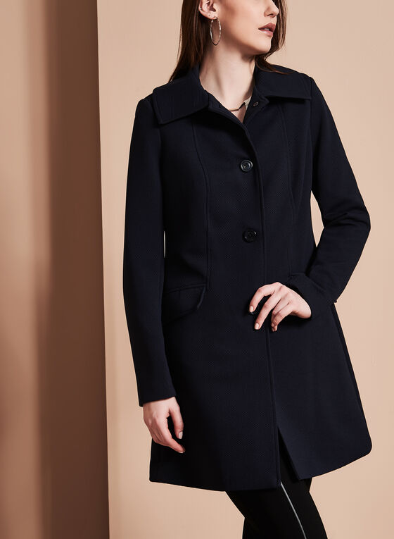 Nuage - Single-Breasted Textured Coat , Blue, hi-res