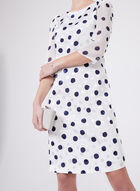 Karl Lagerfeld Paris - Polka Dot Print ¾ Sleeve Dress, Blue, hi-res