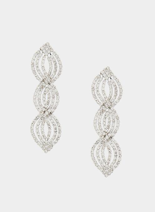 Boucles d'oreilles à pendants cristaux, Argent, hi-res