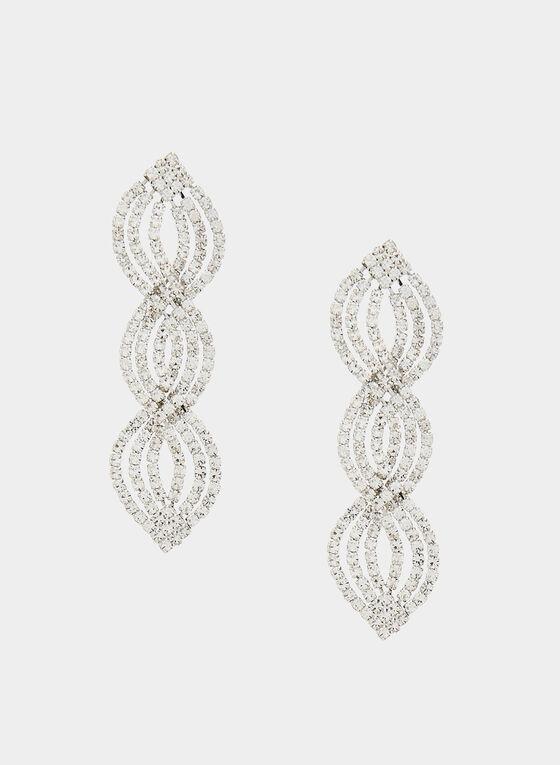 Teardrop Crystal Dangle Earrings, Silver, hi-res