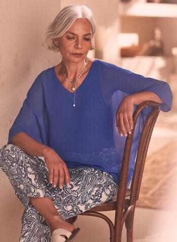 Blouse en mousseline à manches kimono, Bleu,  haut, blouse, manches kimono, mousseline, col v, printemps été 2020