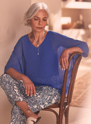 Chiffon Kimono Sleeve Blouse, Blue,  top, blouse, chiffon top, chiffon, chiffon blouse, v-neck, spring 2020, summer 2020
