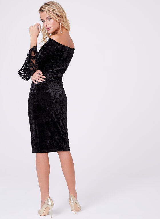 Cachet - Off-The-Shoulder Velvet Dress, Black, hi-res