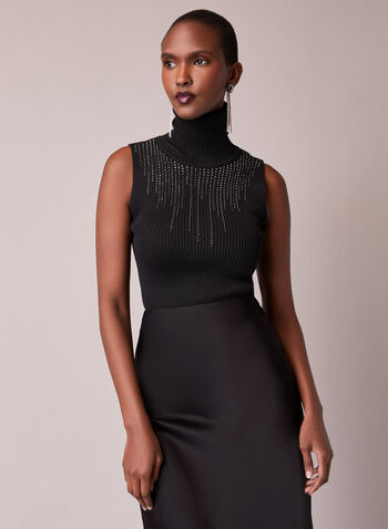 Sleeveless Ribbed Mock Neck Sweater, Black,  fall winter 2020, sleeveless, sweater, rhinestone detail, waterfall, mock neck, turtleneck, ribbed, knit, comfort, holiday