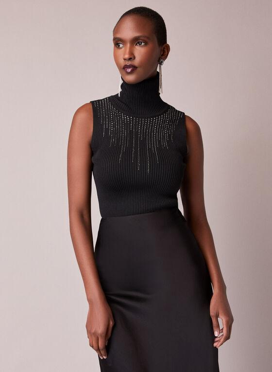 Sleeveless Ribbed Mock Neck Sweater, Black