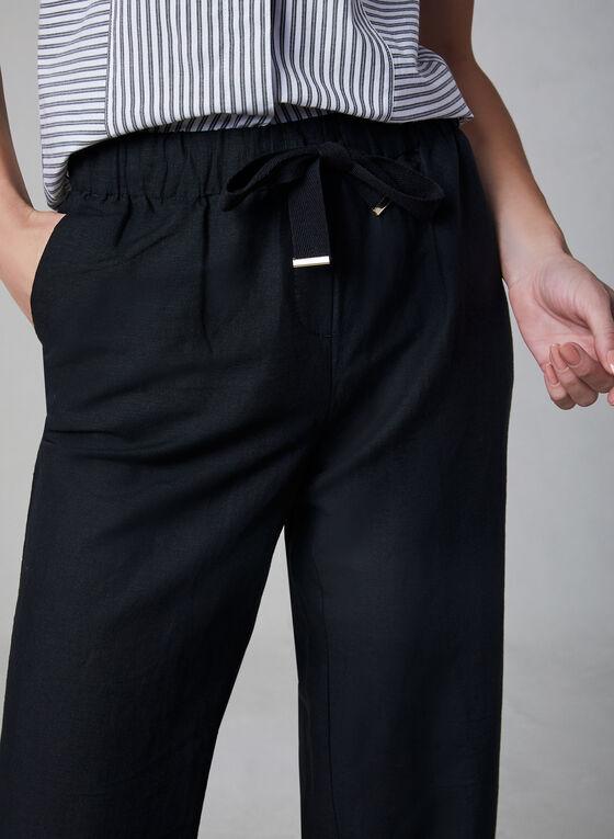 Pantalon gaucho en mélange de lin, Noir, hi-res