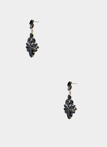 Stone Cluster Earrings, Black, hi-res,  rhinestones, facetted black stones