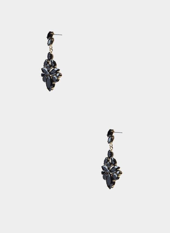 Stone Cluster Earrings, Black