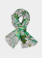 Foulard à imprimé de lotus, Vert, hi-res