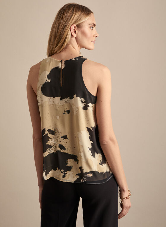 Vince Camuto - Abstract Print Sleeveles Blouse, Grey