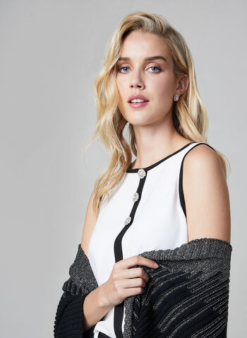Sleeveless Crepe Blouse, Off White,  blouse, sleeveless, crepe, contrast border, fall 2019, winter 2019