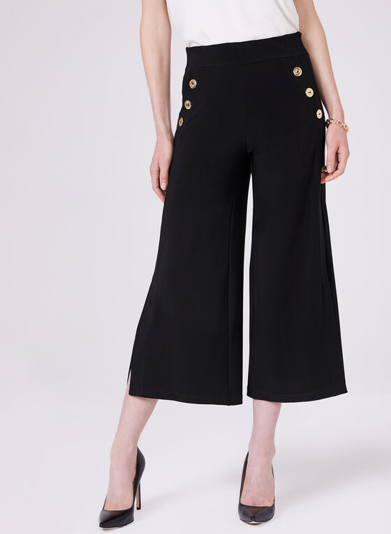 Metal Detail Jersey Culottes, Black, hi-res