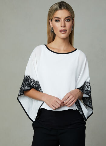 Joseph Ribkoff - Lace Detail Kimono Top, Off White, hi-res