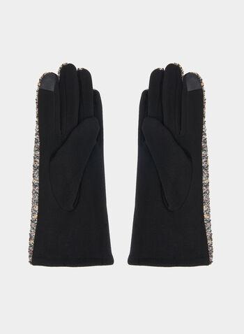Gants en tweed et détail pompon, Noir,  gants, tweed, pompon, automne hiver 2019