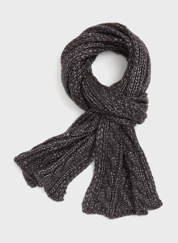 Cable Knit Scarf , Grey, hi-res