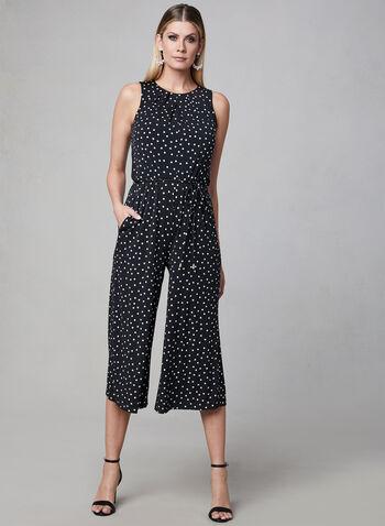 Maggy London - Polka Dot Jumpsuit, Black, hi-res,  jumpsuit, jersey, polka dot print, sleeveless, spring 2019