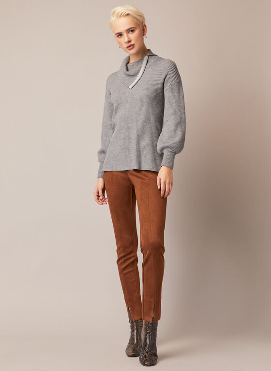 Cowl Neck Knit Sweater, Grey