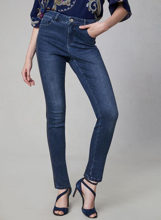 Stitch Detail Slim Leg Jeans, Blue, hi-res