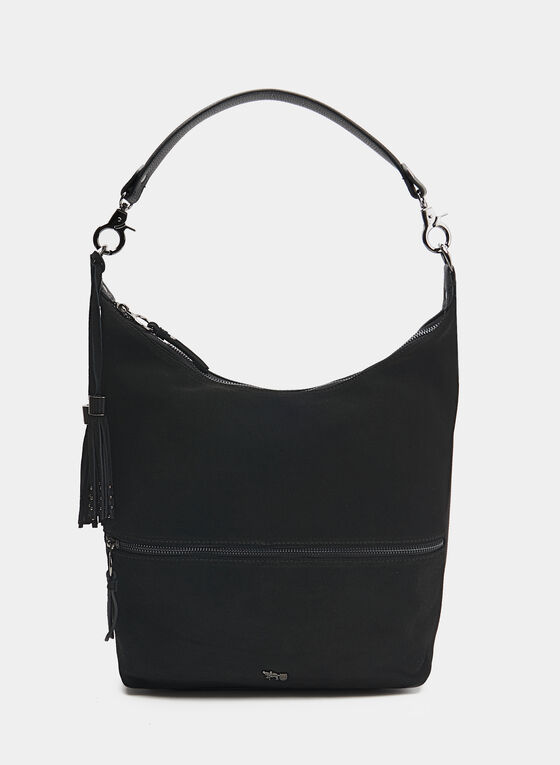 Faux Suede Hobo Bag, Black, hi-res