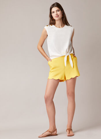 Scalloped Hem Shorts, Yellow,  shorts, scalloped hem, pockets, bengaline, spring summer 2020