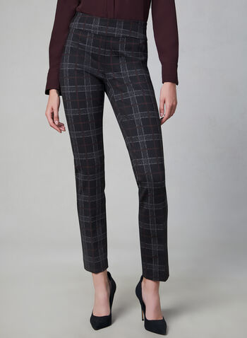 Madison Plaid Print Pants, Black, hi-res,  Madison, pants, slim leg, plaid print, high rise, Ponte de Roma, fall 2019, winter 2019