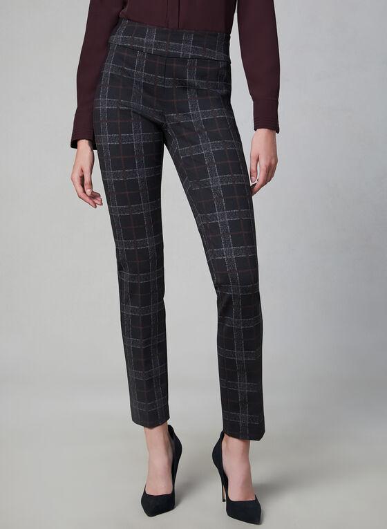 Madison Plaid Print Pants, Black