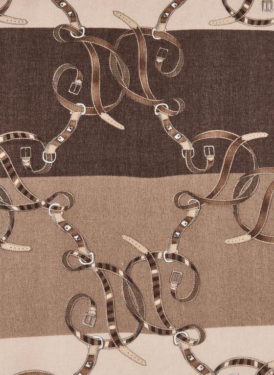 Foulard monochrome à motif fantaisie, Brun