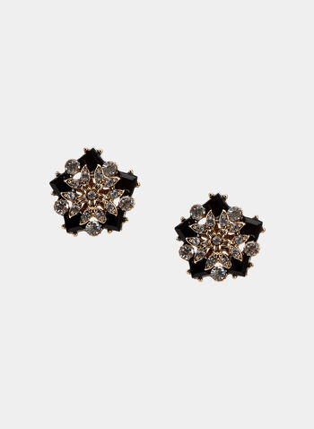 Floral Stud Earrings, Gold, hi-res