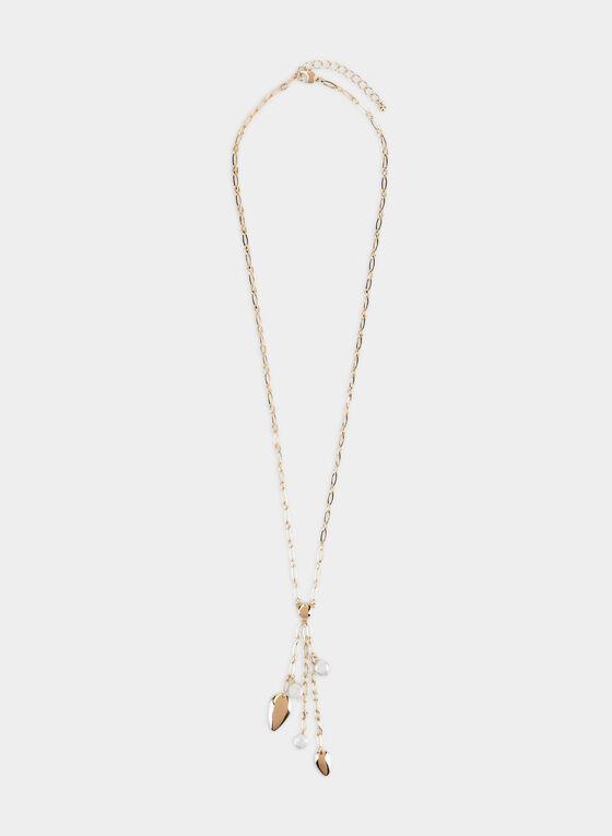 Teardrop Pendant Necklace, Off White