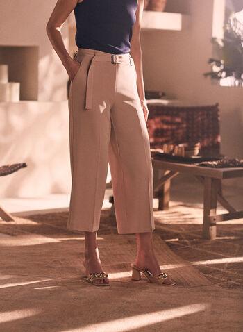 Pantalon gaucho en bengaline, Blanc cassé,  capri, pantalon, jambe large, ceinture, élastique, pinces, poches, bengaline, printemps été 2021