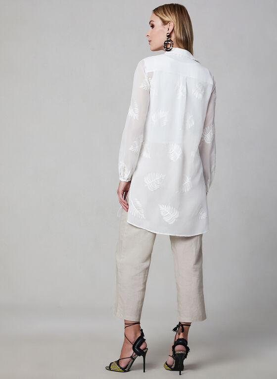 Embroidered Chiffon Duster, White, hi-res