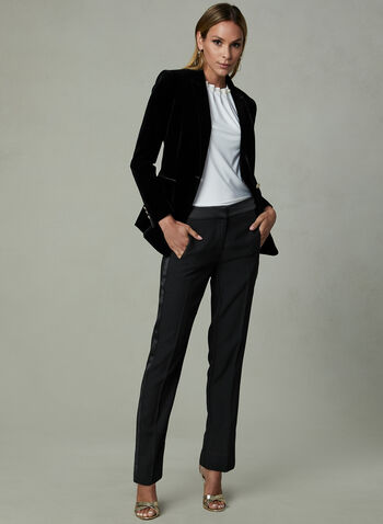 Velvet One Button Blazer, Black, hi-res