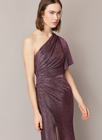 Adrianna Papell - Metallic One Shoulder Dress, Purple,  dress, evening, occasion, metallic, jersey, one shoulder, ruched, fall winter 2020