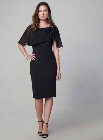 Adrianna Papell - Crepe Dress, Black,  Adrianna Papell, dress, cocktail dress, cape, crepe, rhinestones, fall 2019, winter 2019