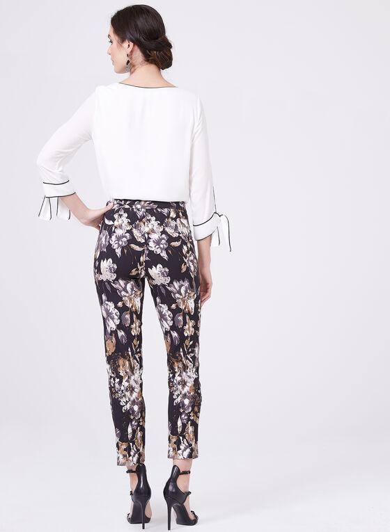 Floral Print Straight Leg Pants, Black, hi-res
